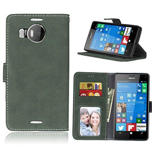 pinlu® Funda Para Nokia Microsoft Lumia 950XL Alta Calidad Función de plegado Flip Wallet Case Cover Carcasa Piel Retro Scrub PU Billetera Soporte Con Ranuras Pequeño Verde