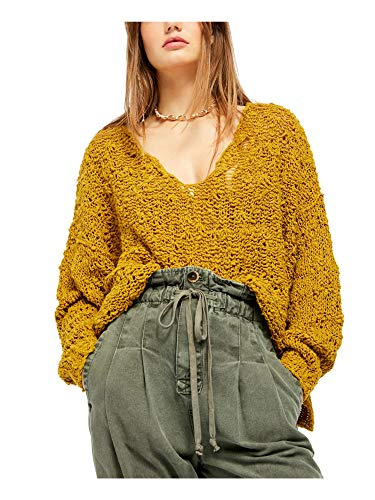 Free People Womens Open Stitch Sheer Crop Top Gold XS