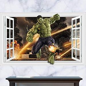 EASTVAPS Ventana 3D Hulk Avengers Fireworks Battlefield Mural Pegatinas de Pared