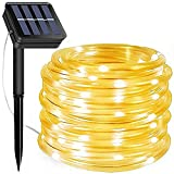 Solar Rope Lights, 66 Feet 200 LED 8 Modes Solar Rope String Lights Outdoor...
