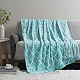 Madison Park Ogee Lightweight Throw Blanket Premium Microlight Design Spread, Oversize, Ultra Soft, Cozy Living Room Couch, Sofa, Bed, 60'x70' Aqua Plush Throw