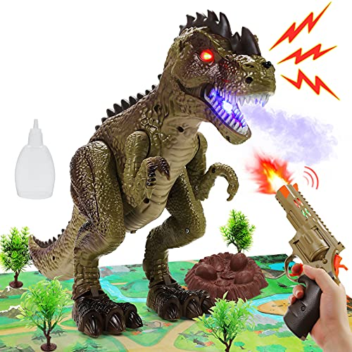 Remote Control Dinosaur Toys for Kids Toddlers Boys Girls RC Jurassic T Rex Attack Shooting Roaring, Spraying, Lighting Walking Tyrannosaurus Toys with Activity Play Mat Christmas Birthday Gifts