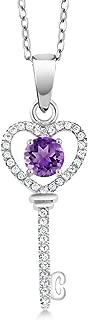 0.89 Ct Round Purple Amethyst 925 Sterling Silver Key Pendant