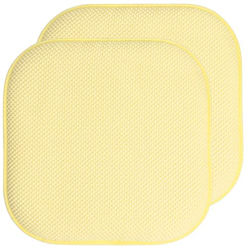 Sweet Home Collection Chair Cushion Memory Foam Pads Honeycomb Pattern Slip Non Skid Rubber Back Rounded Square 16' x 16' Seat Cover, 2 Pack, Yellow