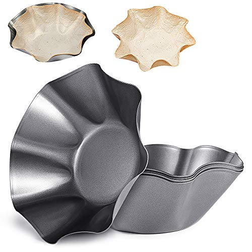 Amytalk 6 Packs 8.2inch Tortilla Pan Tortilla Maker Taco Shell Maker Salad Bowl Taco Pan, Carbon steel