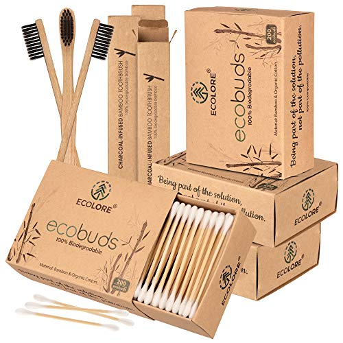 ECOLORE™ 800 Stück Bambus Wattestäbchen + 3 Vegan & Nachhaltig Bambus Zahnbürste gratis   FSC-zertifiziert   Umweltfreundlich, 100{3bcacc7b8bb6027b6414a524a8070d09a5c58c820821810128a2d39b7130e1c2} biologisch abbaubar   kompostierbare premium Ohrenstäbchen