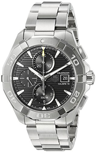 TAG Heuer Men's Aquaracer Swiss-Automatic Watch with Stainless-Steel Strap, Silver, 20 (Model: CAY2110.BA0927)