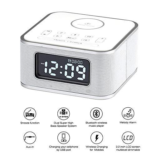 BALALALA Wireless Charging wekkerradio, Bluetooth luidspreker voor slaapkamer oplader voor iPhone X, Snooze, 4 dimmer USB-lader handsfree installatie, wit