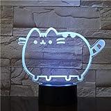 3D Gato gordo Luz de noche, lámpara de ilusión 7 Lámpara de escritorio de cambio de color Lámpara de escritorio para la cama,los mejores juguetes de regalo de cumpleaños