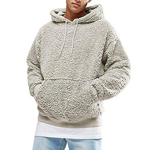 Hertsen – Pull à capuche type sherpa pour homme, manches longues, polaire, poche avant, saison automne hiver - Beige - XL