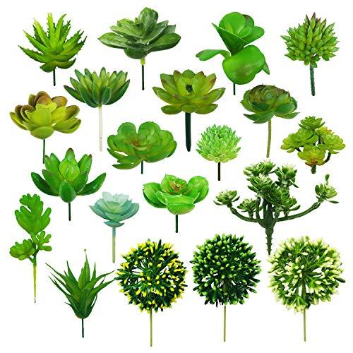 Woohome 20 PCS Artificielles Plantes Succulentes Verte Succulentes Artificielles Succulentes Artificielles Décoratives pour La Maison Jardin Intérieur Décoration