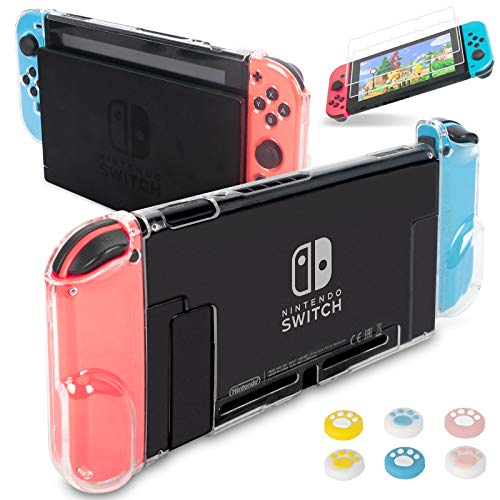 Dockable Case for Nintendo Switch, Hestia Goods Protective Cover Case with 2 Pack Screen Protector & 6 Pcs Thumb Grip for Nintendo Switch