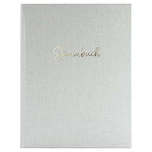 DeinWeddingshop Stammbuch der Familie, Premium Buchbinder-Leinen mit Prägung, Familienstammbuch für Hochzeit, Standesamt | 16x21cm | Sand Weiß/Gold