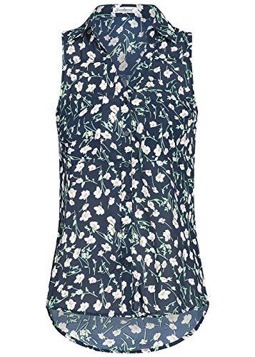 Seventyseven Lifestyle Damen Bluse 2 Brusttaschen Blumen Muster Shirt Navy blau Weiss grün, Gr:XXL