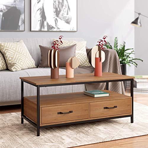 HOMECHO Table Basse avec 2 Tiroires Bidirectionnel Table de Salon Style Industriel de Bois et Métal Meuble TV pour...