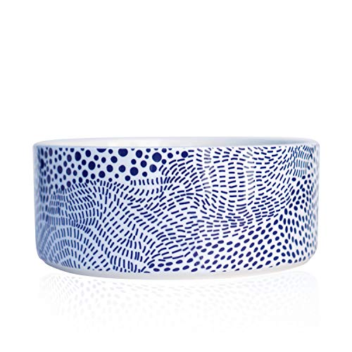 Should We Go? Ceramic Dog Bowl: Cute, Modern Food and Water Bowl for Dogs. This Pet Dish is Heavy, Tough to Tip Over, Dishwasher/Microwave Safe. New Puppy Gift! (Medium/Large Blue Dot)