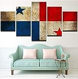 TytlPrints Dekoration Malerei 5 Panel,Panama Flagge