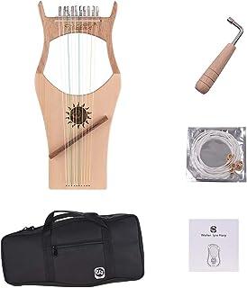 10 con cuerdas de Arpa de madera de palisandro de sintonizaci/ón con llave de marcha y bolsa de transporte