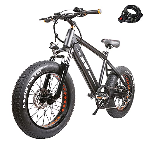 NAKTO 20 inch 350W Fat Tire Electric Bike for Adults Snow/Mountain/Beach Ebike with Shimano 6 Speed Gear and 48V 8AH Lithium Battery