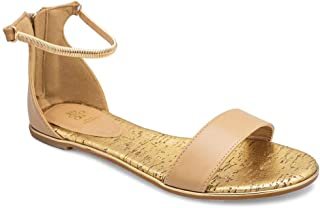 tresmode Women's Tan Flat Sandals with Gold Ankle Straps