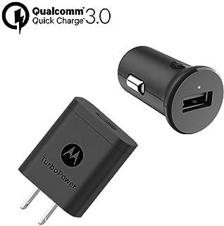 Motorola Car + Home QC3.0 Bundle - TurboPower 18 USB-A Cargador de Coche + TurboPower 18 Cargador de Pared - Carga Turbo Cualquier teléfono habilitado para Moto Turbo [sin Cables] (Caja al por Menor)