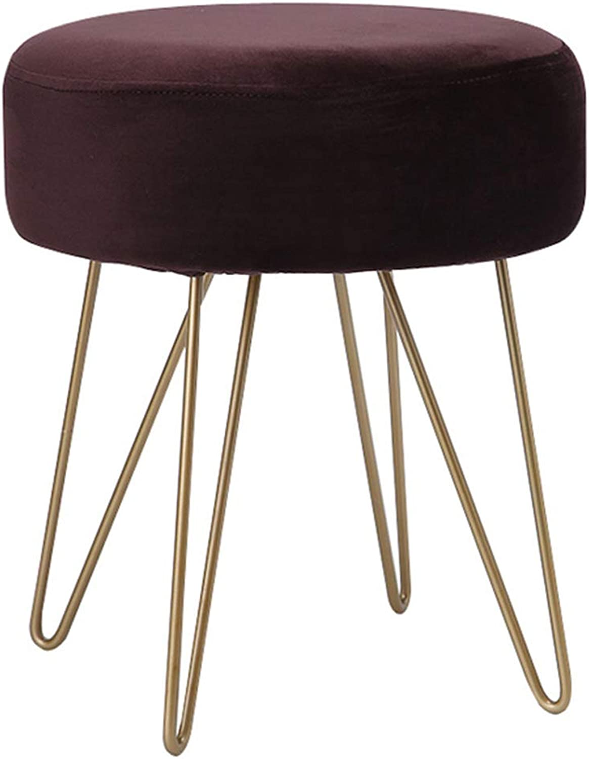 Chair Iron Art Dressing Stool Creative Low Stool Home Environmental Predection Change shoes Footstool Bedroom Dressing Table Sofa Stool Metal Multifunction Stool,Brown