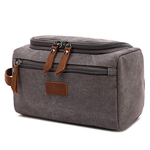Kit de Rasage pour Le Visage pour Hommes Dopp Women Travel Makeup Cosmetic Bag Bag Holster Storage Bag Canvas Washing Bag-Grey