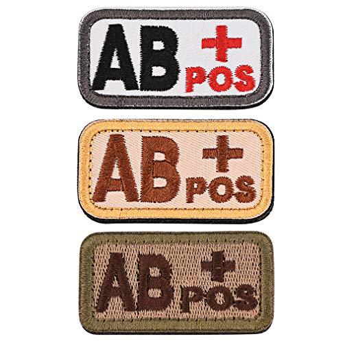 FaithHeart Blutgruppen Patch Blutgruppe Emblem Bestickter Aufnäher mit Klettverschluss Klett-Patch Blutgruppe AB