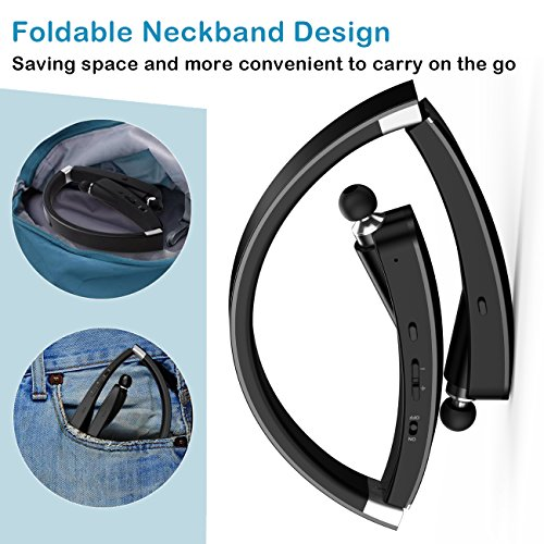 Noise Cancelling Bluetooth Headphones Wireless Neckband Headset - Sweatproof Earphones with Mic, Retractable Earbuds, Foldable Design, Bluetooth 4.1, 18 Hours Playtime for iPhone&Android