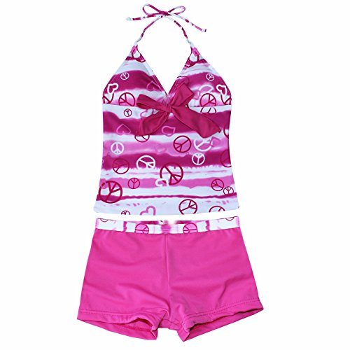 iiniim Kinder Mädchen Badeanzug Zweiteiler Bikini Tops mit Badeshorts Bademode Schwimmanzug Gr.122-176 Rosa 158-164