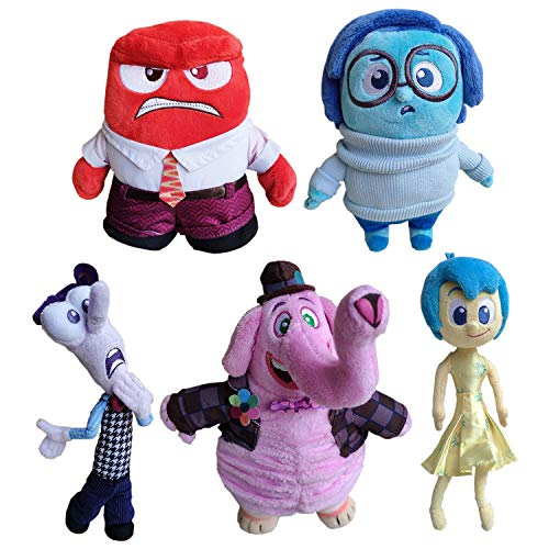 LuLezon Set di 5 Inside out Joy Sadness Anger Fear Bing Bong Giocattoli Peluche morbide Bambole di Peluche per Regalo per Bambini