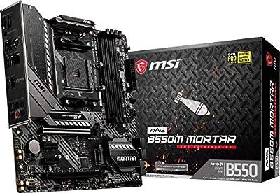 MSI MAG B550M Mortar Gaming Motherboard (AMD AM4, DDR4, PCIe 4.0, SATA 6Gb/s, M.2, USB 3.2 Gen 2, HDMI/DP, Micro-ATX, AMD Ryzen 5000 Series Processors)