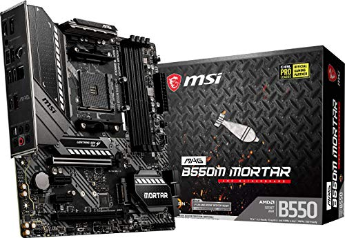 MSI MAG B550M Mortar Gaming Motherboard (AMD AM4, DDR4, PCIe 4.0, SATA 6Gb/s, M.2, USB 3.2 Gen 2, HDMI/DP, Micro-ATX, AMD Ryzen 5000 Series Processors)