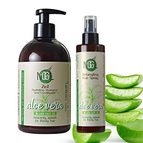 NGGL Veganes Premium-Spa für die Haare mit 100% natürlicher Aloe Vera, Feuchtigkeitsspendendes 2-in-1 Shampoo und Conditioner 500ml und Texturierendes Haarspray mit Meersalz, 200ml