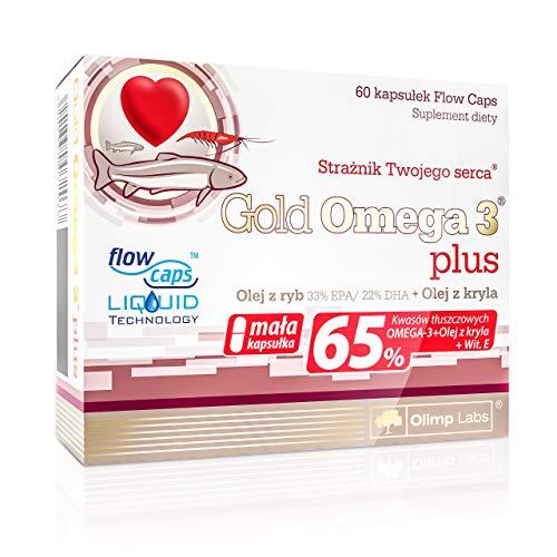 OLIMP Gold Omega 3 Plus 60 Kapseln Omega-3-Fettsäuren Krillöl Fischöl EPA DHA mit Vitamine E 65% Fettsäuren