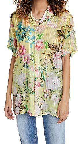 Hemant and Nandita Women's Floral Shirt, Yellow, Small