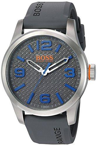 Hugo Boss Orange Paris Herren-Armbanduhr Quartz mit grauem Silikon Armband 1513349