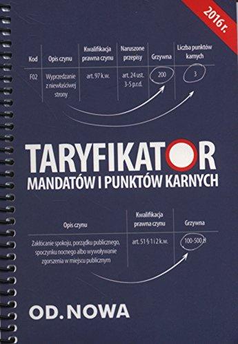 Taryfikator mandatow i punktow karnych 2016