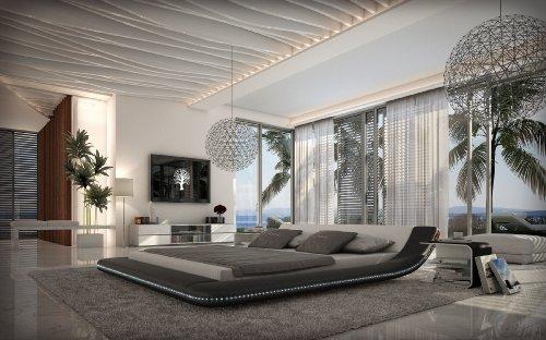 INNOCENT Designer Bett 180x200cm mit LED-Beleuchtung Custo schwarz weiß