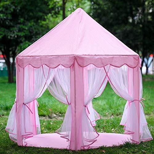 Wangyongqi rosa tragbares Prinzessinnenschloss Zelt Kinder Aktivität Feenhaus, lustiges Spielhaus für drinnen und draußen, Spielhaus für Babystrand, Zelt, Spielzeug (ohne Bälle)