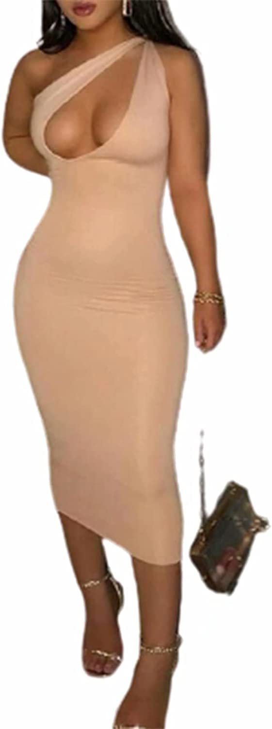 FANTASYSKINS Women's One Shoulder Ruched Midi Dress Sleeveless Hollow Cut Out Bodycon Club Party Night Out Long Dresses