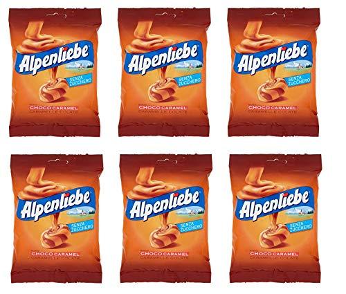 6x Perfetti Alpenliebe Choco Caramel Caramelle Colate Bonbon Geschmack Schoko-Karamell Glutenfrei zuckerfreie Süßigkeiten Lollies 80g Beutel