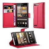 Cadorabo Hülle für Huawei G6 - Hülle in Karmin ROT – Handyhülle mit Kartenfach & Standfunktion - Hülle Cover Schutzhülle Etui Tasche Book Klapp Style