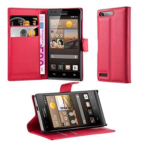 Cadorabo Hülle für Huawei Ascend G6 in Karmin ROT - Handyhülle mit Magnetverschluss, Standfunktion & Kartenfach - Hülle Cover Schutzhülle Etui Tasche Book Klapp Style