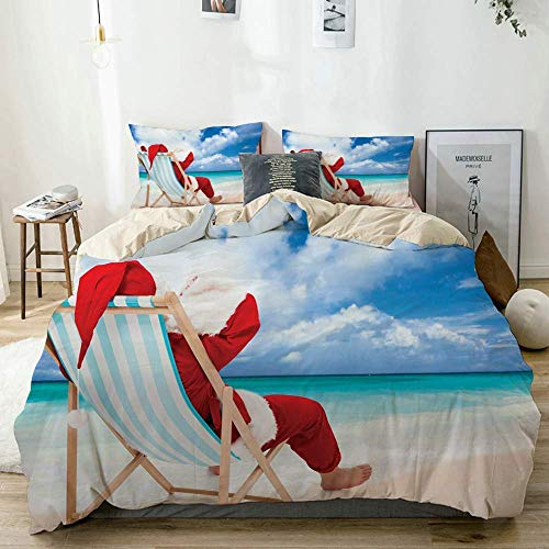 Juego de Funda nórdica Beige, Estampado de Papá Noel Relajante en la Playa exótica, Juego de Cama Decorativo de 3 Piezas con 2 Fundas de Almohada Fácil de cuidar, antialérgico, Suave, Suave