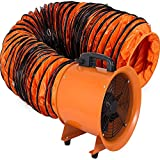 VEVOR Utility Blower 12 inch Ventilator Blower 2800RPM Extractor Fan Blower Portable Industrial High Velocity Blower with 10 m Flexible PVC Ducting(with 10m Hose)