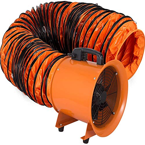 VEVOR Utility Blower, 12 inch Ventilator Blower, 2800RPM Extractor Fan Blower Portable Industrial High Velocity Blower, with 10 m Flexible PVC Ducting(with 10m Hose)