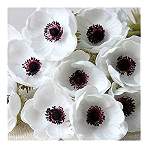 JiaQinHe Remains 10pcs/Lot Artificial Single Head Anemone/Flower Home Living Room Decoration Fake Flower Wedding Scene Layout Photo Props Never (Color : White)
