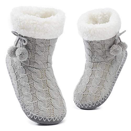 MaaMgic - Mujer Zapatillas Pantuflas Antideslizante de Invierno, como Casa Botas Extra Cálido,Gris 2,37/39EU