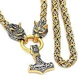 SBRTL Collar Oro con Cabeza Lobo para Hombre, Colgante Martillo Thor Acero Inoxidable Hecho A Mano Cadena Cabeza Nórdica Talismán Runa 50-70Cm,Plata,50CM
